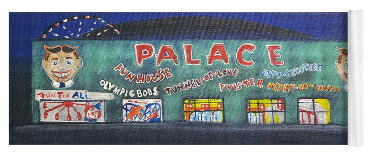 Tillie Of Asbury Park Yoga Mat featuring the painting The Tiny Tiny Palace by Patricia Arroyo