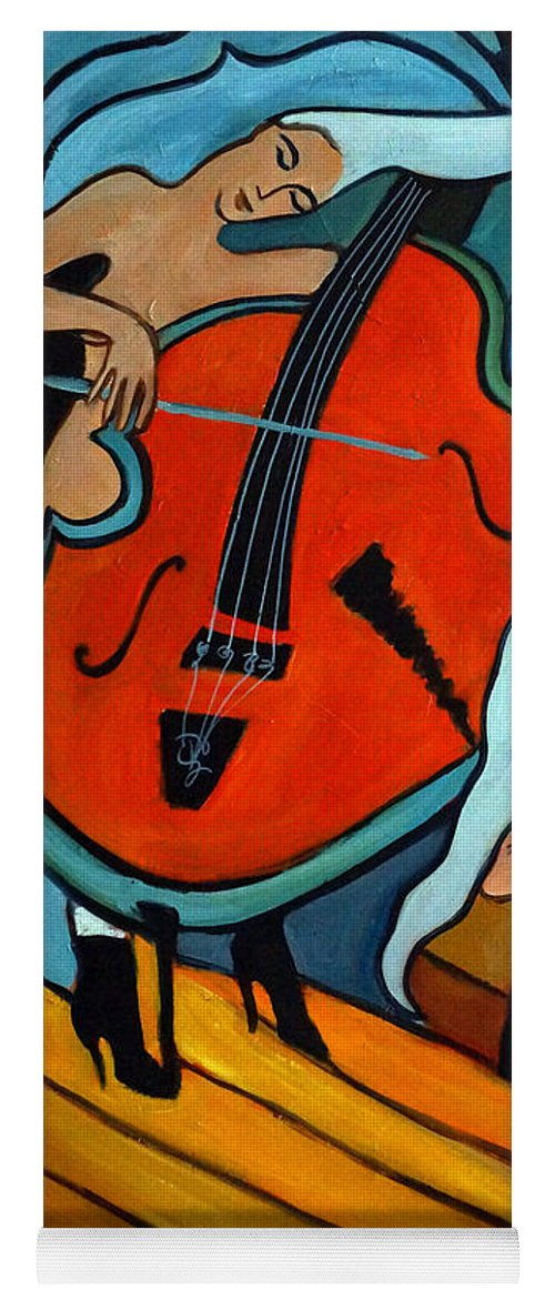 Musician Abstract Yoga Mat featuring the painting The Tuba Player by Valerie Vescovi