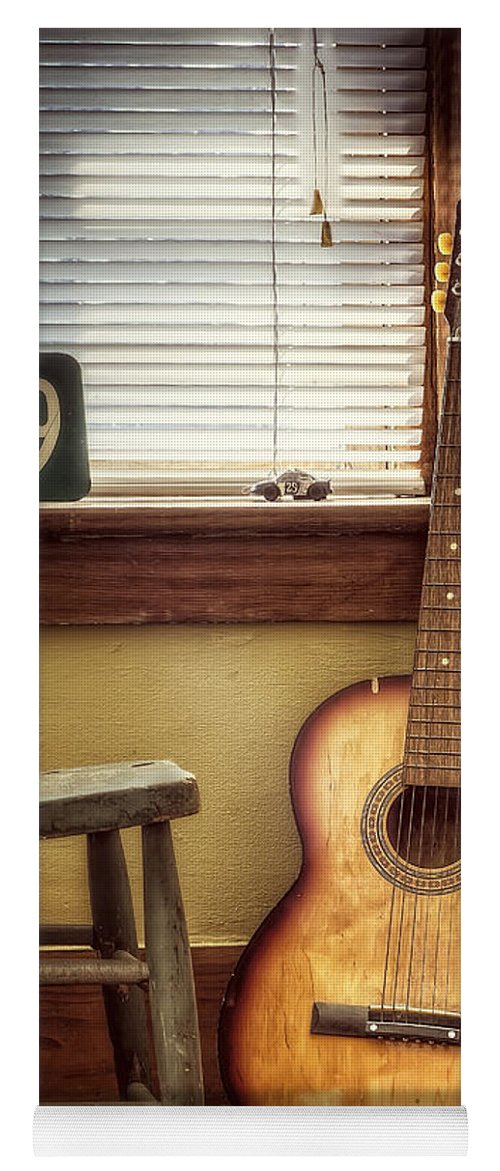 Guitar Yoga Mat featuring the photograph This Old Guitar by Scott Norris