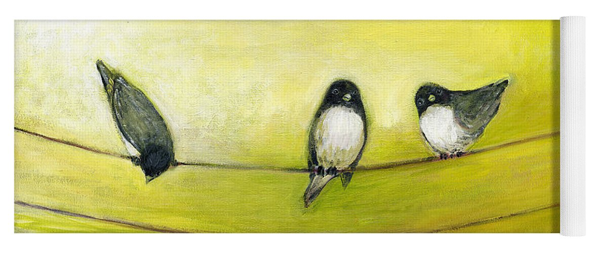 Bird Yoga Mat featuring the painting Three Birds on a Wire No 2 by Jennifer Lommers
