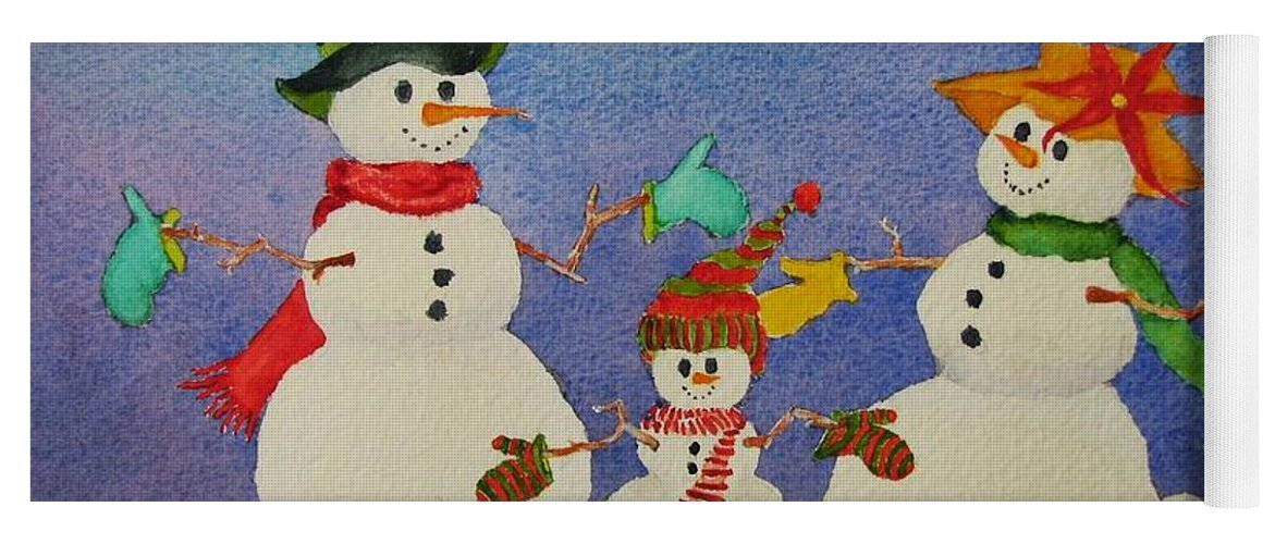Christmas Card Yoga Mat featuring the painting Tres Chic by Mary Ellen Mueller Legault