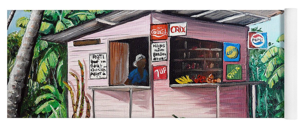 Shop Painting Yoga Mat featuring the painting Trini Roti Shop by Karin Dawn Kelshall- Best