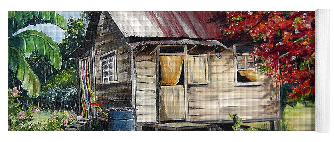 Landscape Paintings Tropical Paintings Trinidad House Paintings House Paintings Country Painting Trinidad Old Wood House Paintings Flamboyant Tree Paintings Caribbean Paintings Greeting Card Paintings Canvas Print Paintings Poster Art Paintings Yoga Mat featuring the painting Country Life by Karin Dawn Kelshall- Best