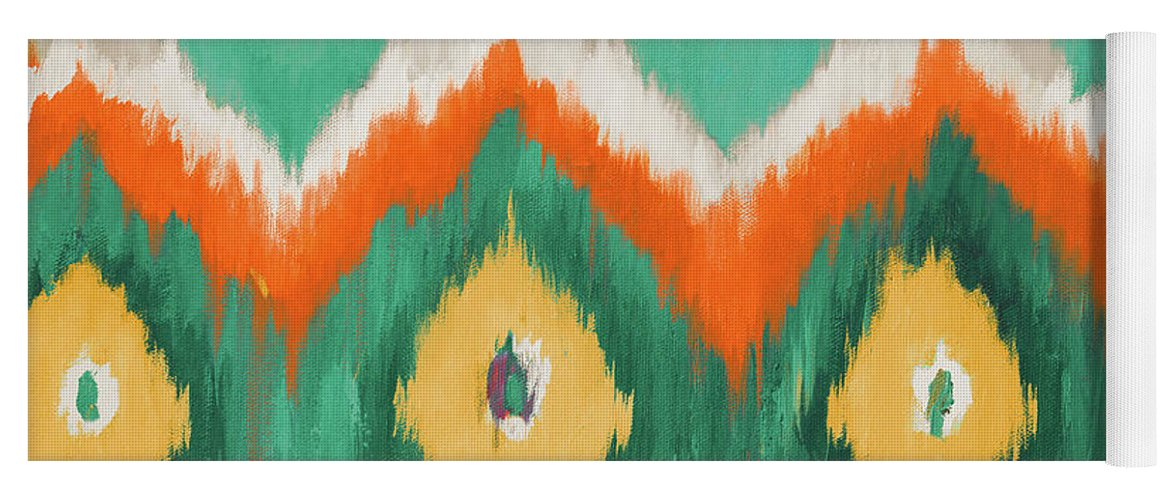 Tropical Yoga Mat featuring the painting Tropical Ikat II by Patricia Pinto