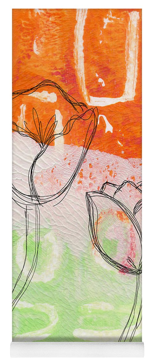 Abstract Yoga Mat featuring the mixed media Tulips by Linda Woods