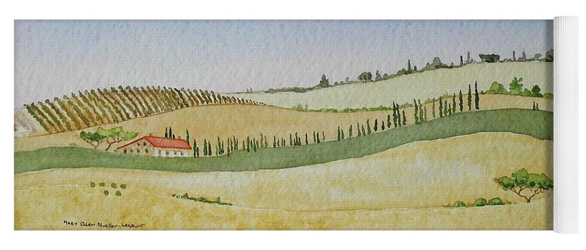 Italy Yoga Mat featuring the painting Tuscan Hillside Four by Mary Ellen Mueller Legault