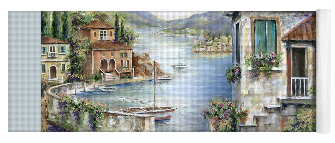 Tuscany Yoga Mat featuring the painting Tuscan Villas By The Lake by Marilyn Dunlap