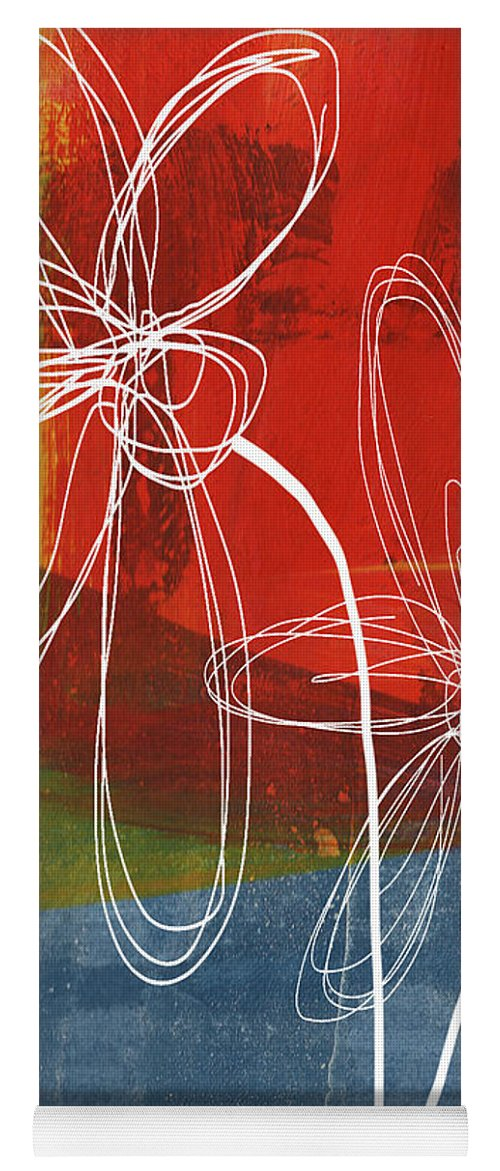 Abstract Yoga Mat featuring the painting Two Flowers by Linda Woods