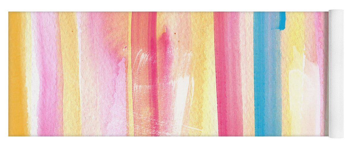 Summer Yoga Mat featuring the painting Umrbrella Stripe- contemporary abstract painting by Linda Woods