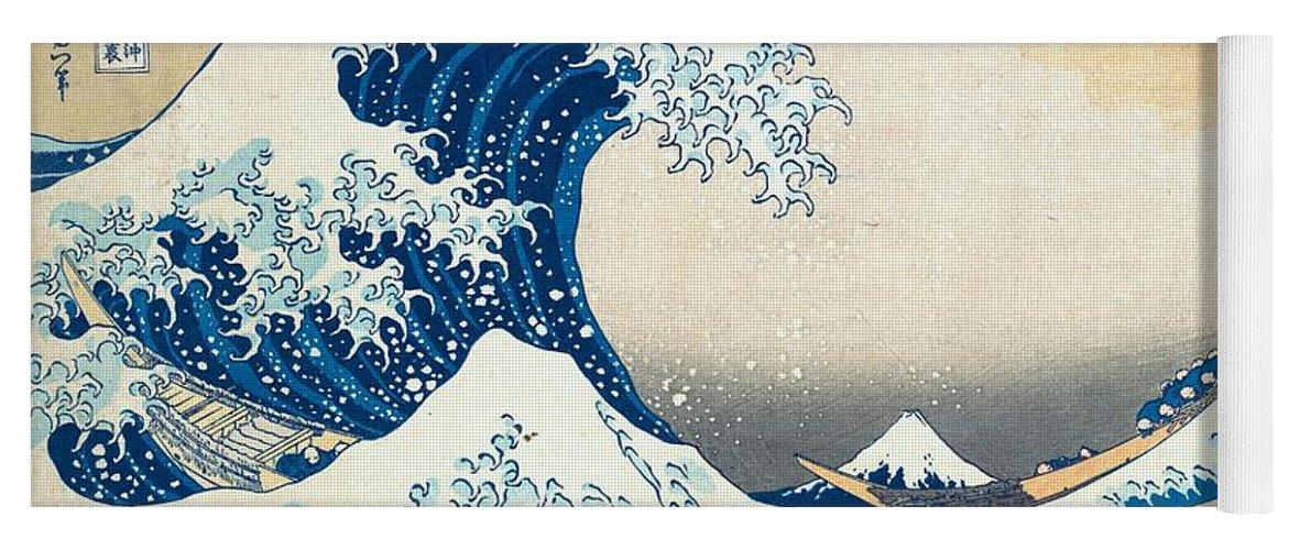 1830-1832 Yoga Mat featuring the painting Under The Wave Off Kanagawa by Katsushika Hokusai