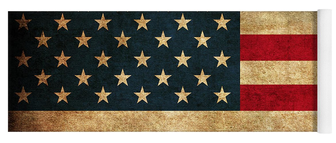 United States American Usa Flag Vintage Distressed Finish On Worn Canvas Yoga Mat featuring the mixed media United States American USA Flag Vintage Distressed Finish on Worn Canvas by Design Turnpike