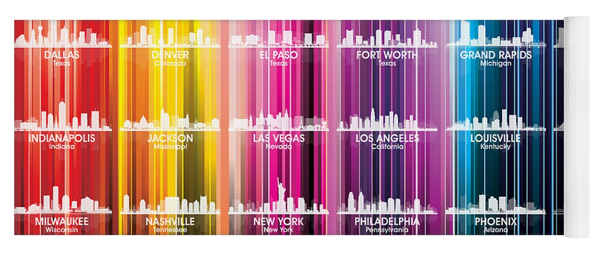 City Silhouette Yoga Mat featuring the mixed media Usa Skylines 2 by Angelina Tamez