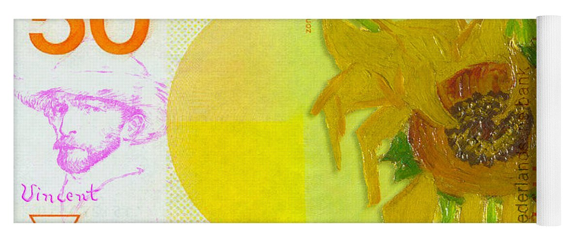 van goghs 50 gulden note with his sunflower yoga mat for sale