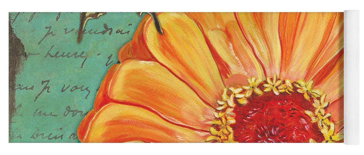Floral Yoga Mat featuring the painting Verdigris Floral 1 by Debbie DeWitt