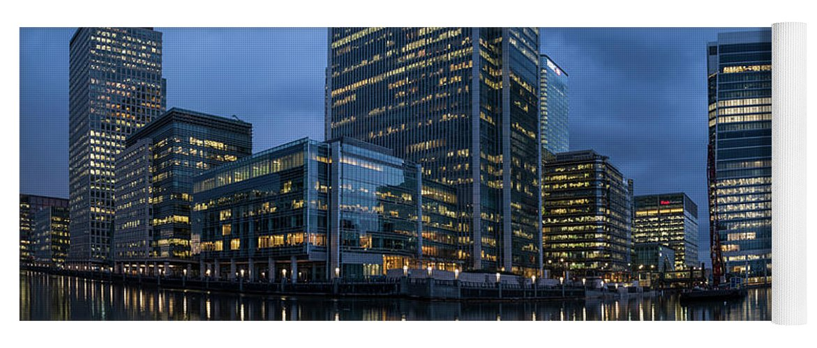 Photography Yoga Mat featuring the photograph View Of Canary Wharf At Night by Panoramic Images