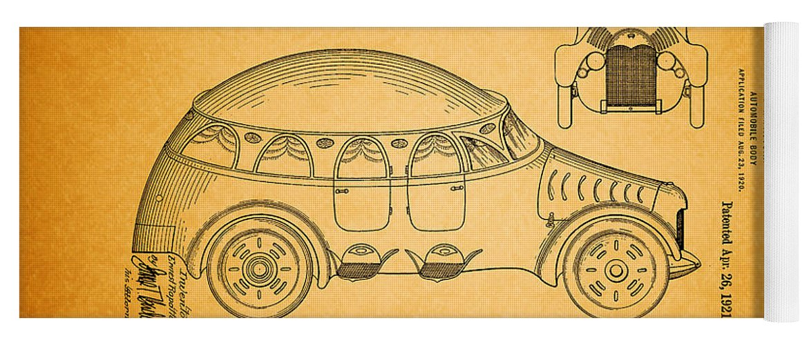 Patent Yoga Mat featuring the drawing Vintage Auto Body Patent 1921 by Mountain Dreams