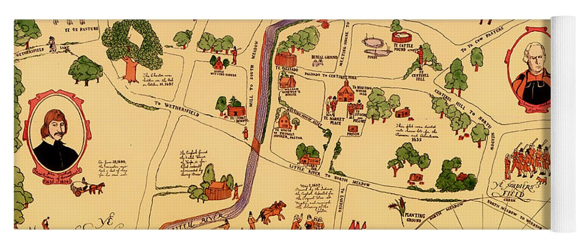 Vintage Illustrative Map Of Hartford Connecticut 1927 Yoga Mat