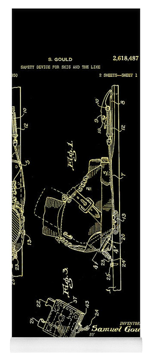 Patent Yoga Mat featuring the drawing Vintage Safety Device For Skis Patent 1952 by Mountain Dreams