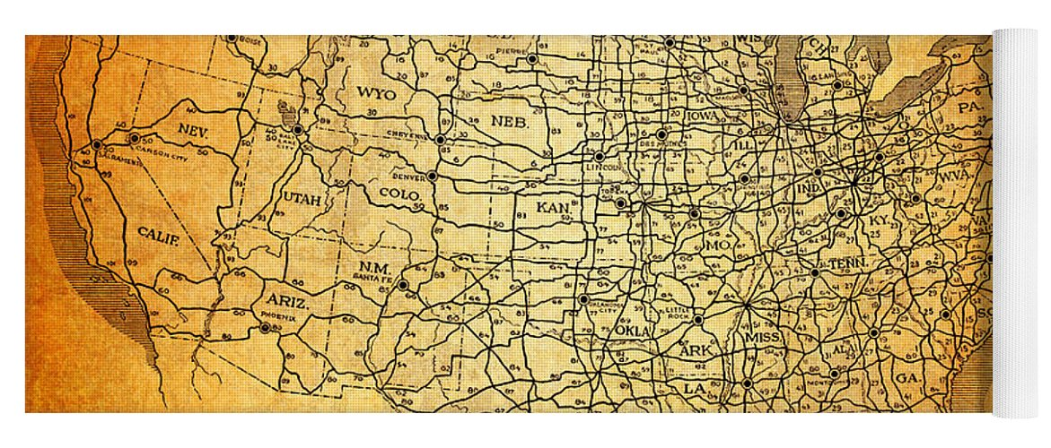 Vintage United States Highway System Map On Worn Canvas Yoga Mat For