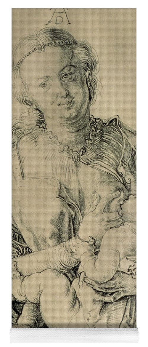 Breast Yoga Mat featuring the drawing Virgin Mary Suckling The Christ  Child, 1512 Charcoal Drawing