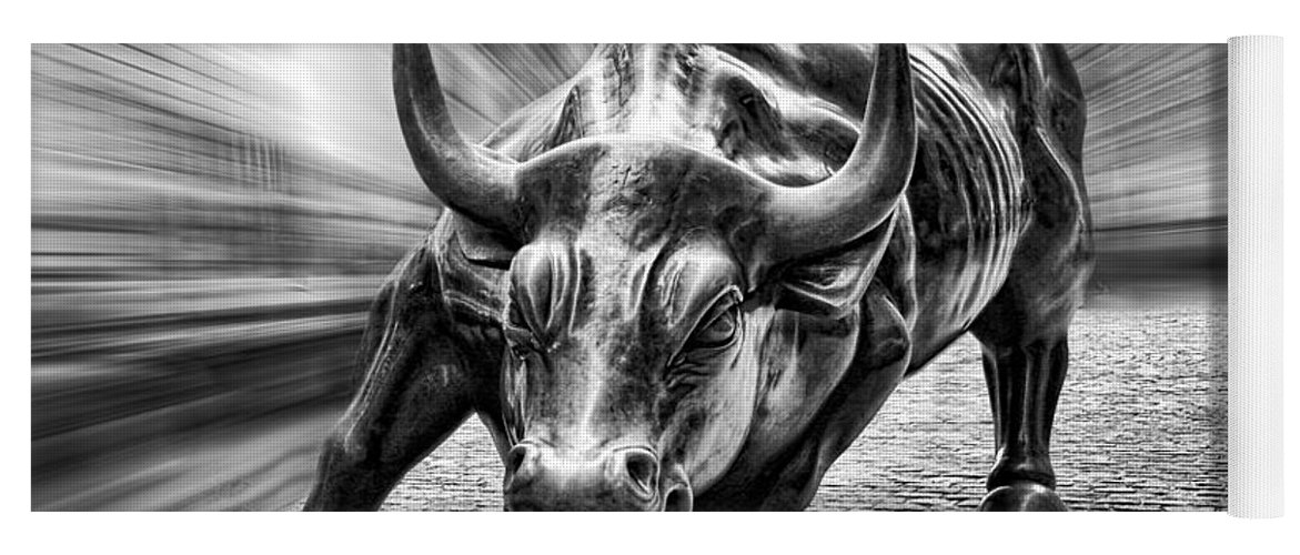 Wall Street Bull Black And White Yoga Mat featuring the photograph Wall Street Bull Black And White by Wes and Dotty Weber