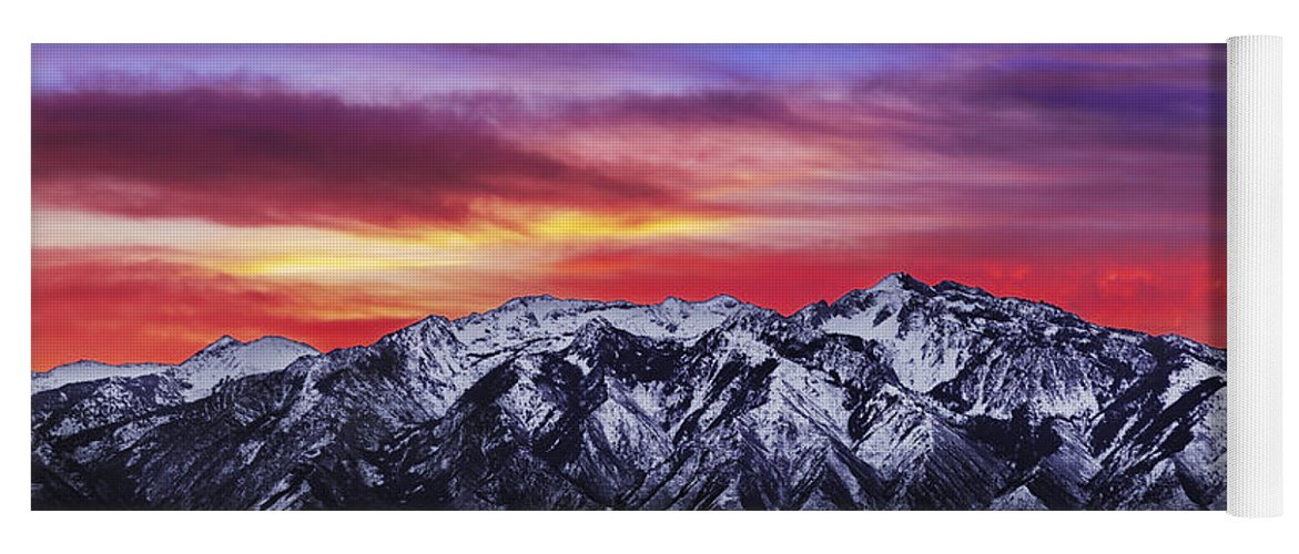 Sky Yoga Mat featuring the photograph Wasatch Sunrise 2x1 by Chad Dutson