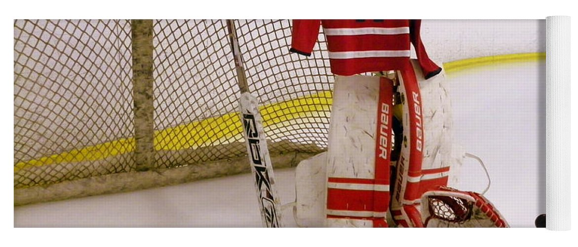 Braden Holtby Yoga Mat featuring the photograph Washington Capitals Braden  Holtby Winter Classic 2015 Jersey by 588124d2a