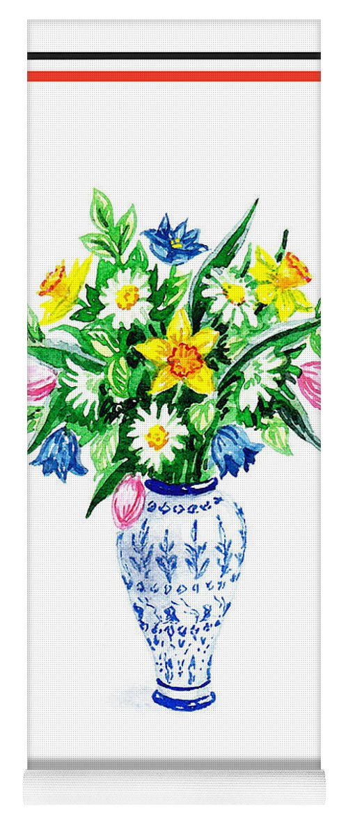watercolor flowers bouquet in chinese antique vase yoga mat for sale
