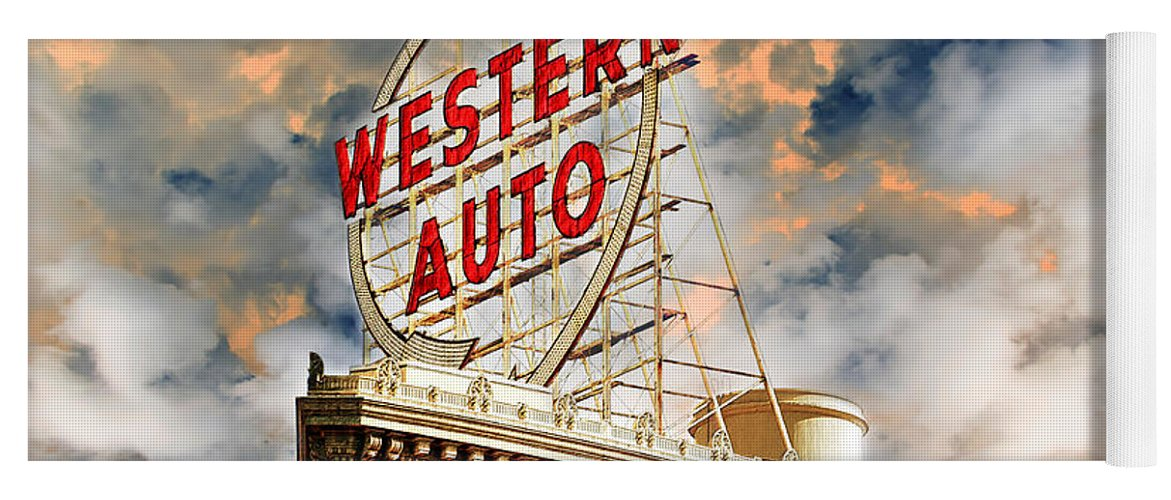 Western Auto Sign Downtown Kansas City 2 Yoga Mat For Sale By Andee