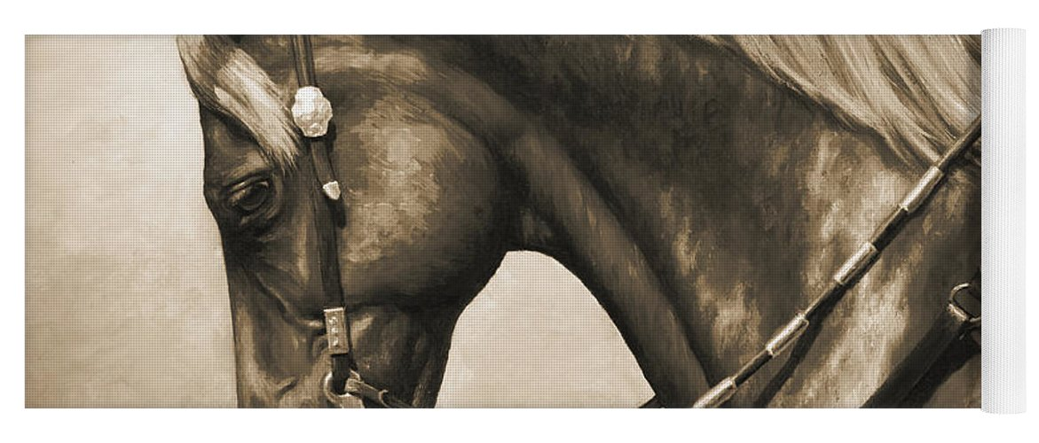 Horse Yoga Mat featuring the painting Western Horse Painting In Sepia by Crista Forest