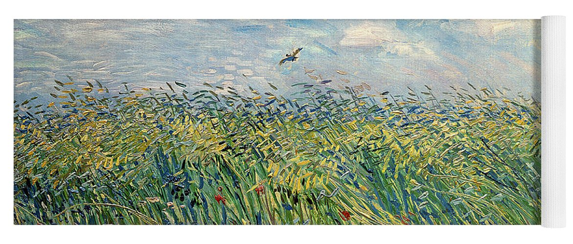 Post-impressionist; Wheat Field; Landscape; Bird; Poppies; Actually A Partridge Yoga Mat featuring the painting Wheatfield With Lark by Vincent van Gogh