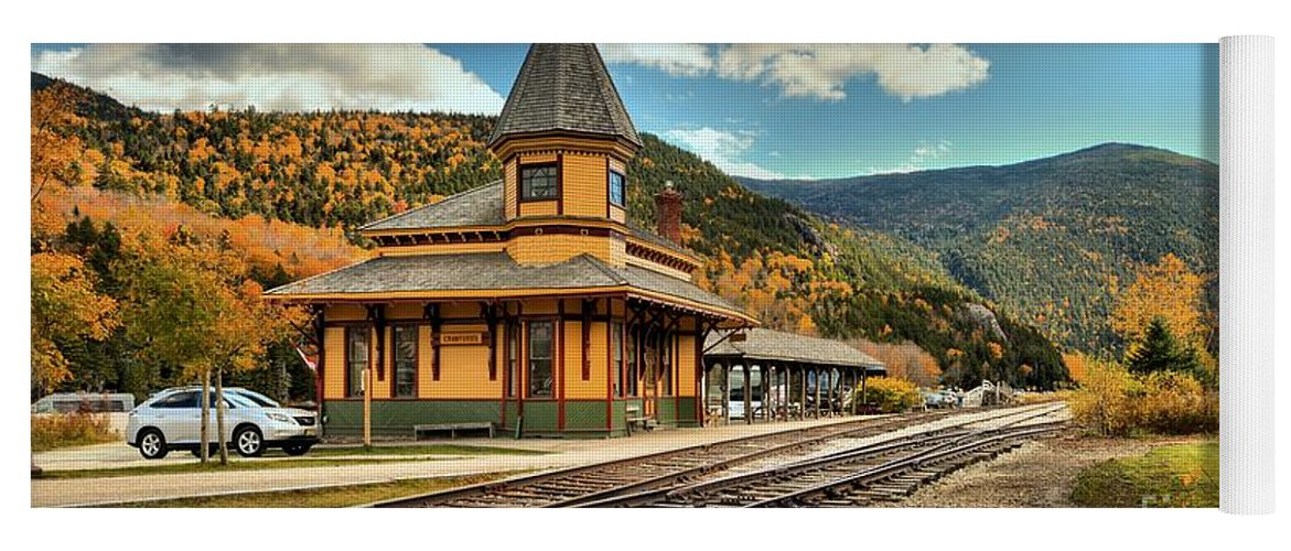 Crawford Depot Yoga Mat featuring the photograph White Mountans Crawford Train Depot by Adam Jewell