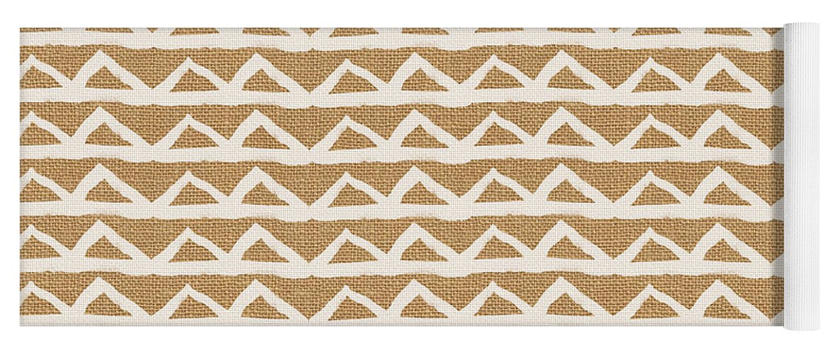 Triangles Yoga Mat featuring the mixed media White Triangles On Burlap by Linda Woods