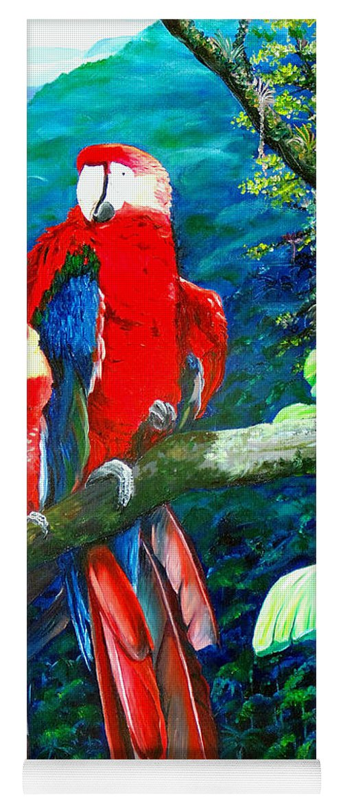 Caribbean Painting Green Wing Macaws Red Mountains Birds Trinidad And Tobago Birds Parrots Macaw Paintings Greeting Card  Yoga Mat featuring the painting Who Me  by Karin Dawn Kelshall- Best