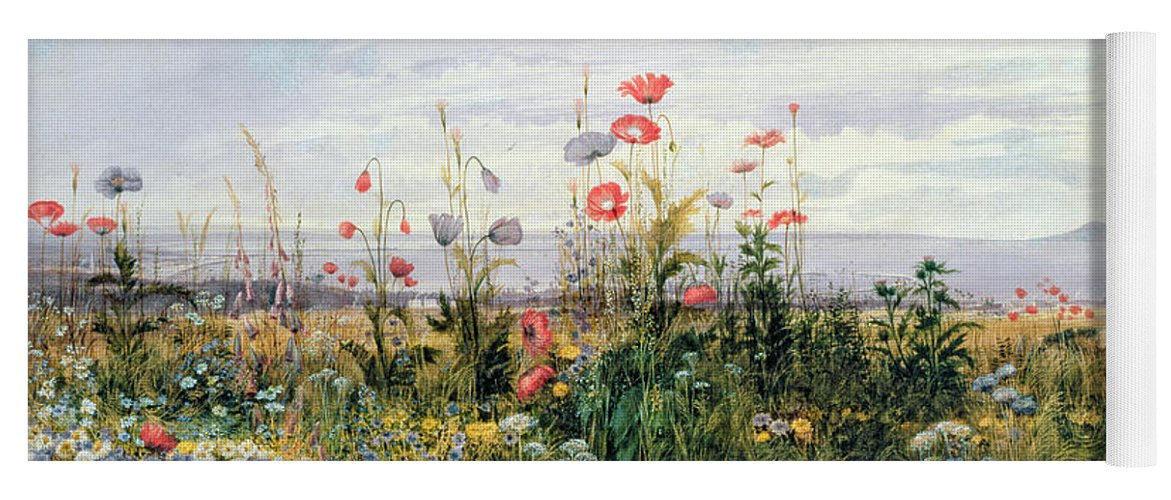 Meadow; Flowers; Irish; Wild; Landscape; Poppies Yoga Mat featuring the painting Wildflowers With A View Of Dublin Dunleary by A Nicholl