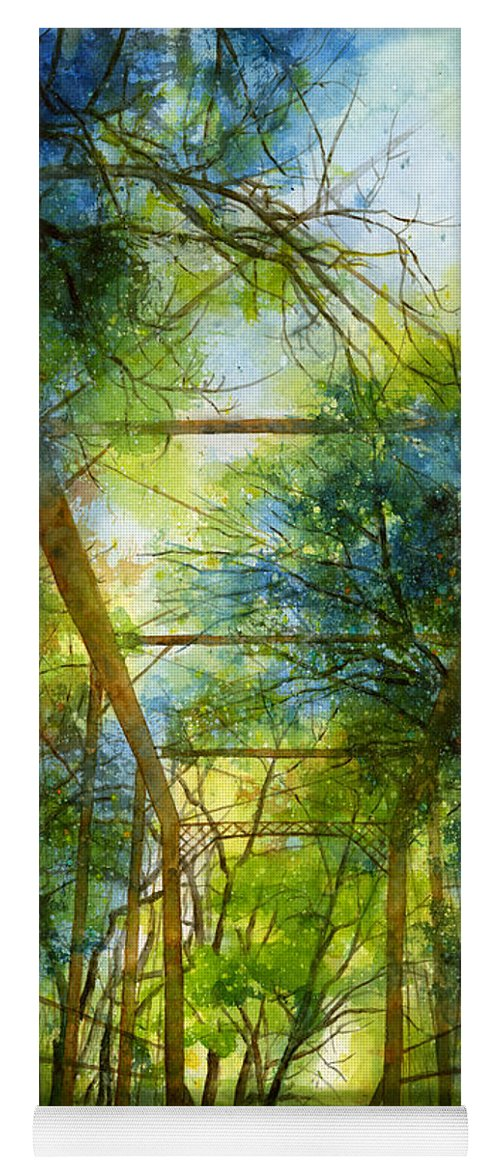 Fayetteville Yoga Mat featuring the painting Willow Springs Road Bridge by Hailey E Herrera