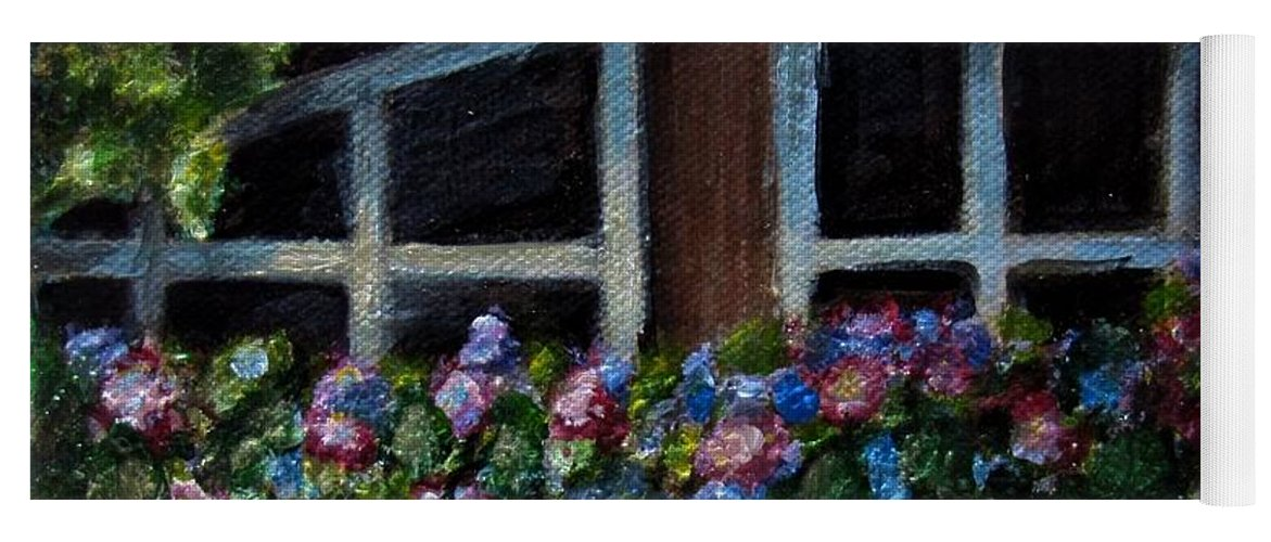 Window Box Yoga Mat featuring the painting Window Box Wonder by Laurie Morgan