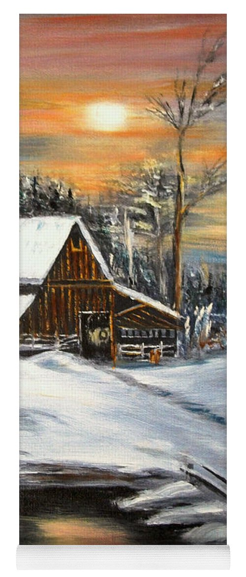 Landscape Yoga Mat featuring the painting Winter Barn by Kenneth LePoidevin