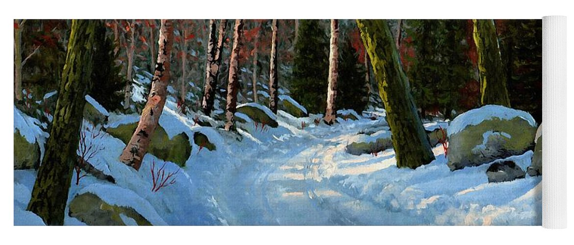 Winter Road Yoga Mat featuring the painting Winter Road by Frank Wilson