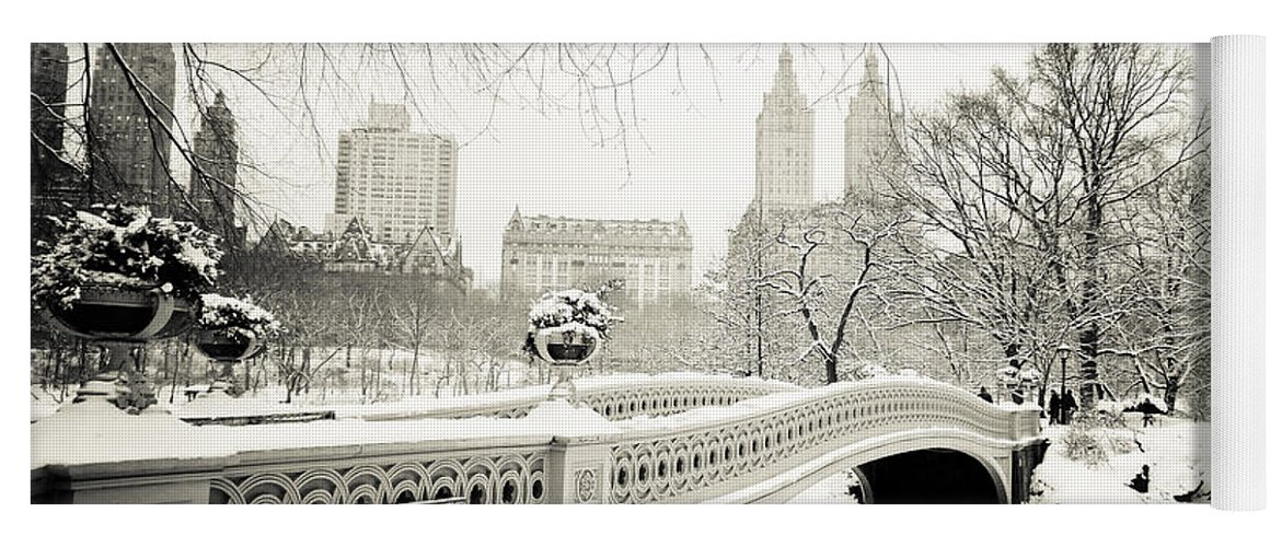 New York City Yoga Mat featuring the photograph Winter's Touch - Bow Bridge - Central Park - New York City by Vivienne Gucwa