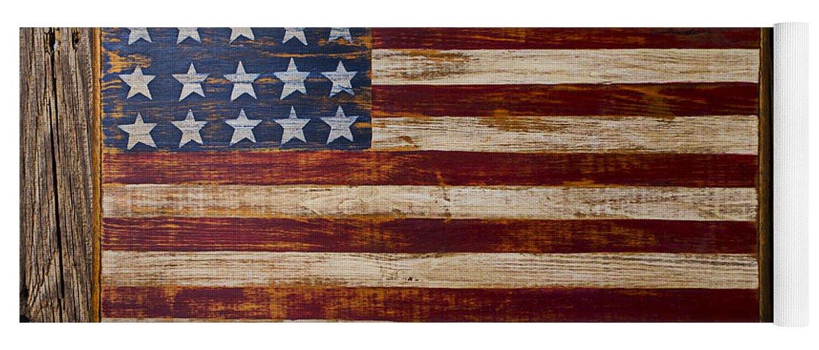 Wooden American Flag On Wood Wall Yoga Mat