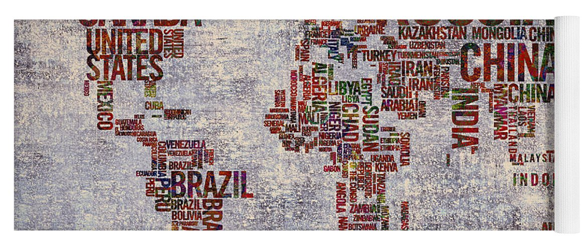 World Map Yoga Mat featuring the painting World Map Typography Artwork by Georgeta Blanaru