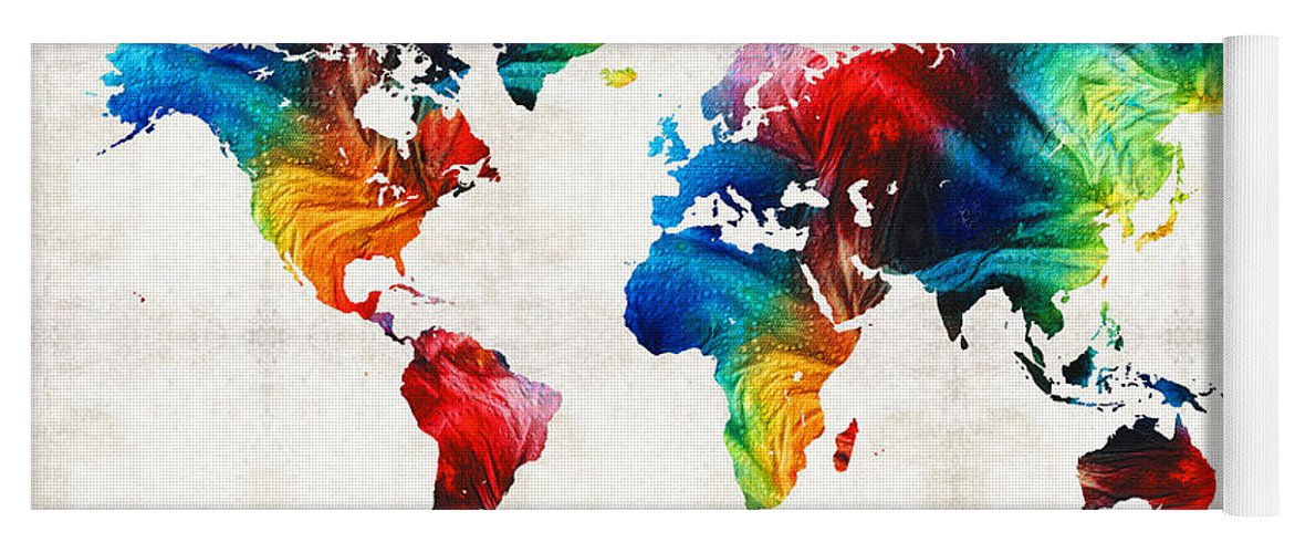 World map 19 colorful art by sharon cummings yoga mat for sale by map yoga mat featuring the painting world map 19 colorful art by sharon cummings by gumiabroncs Gallery
