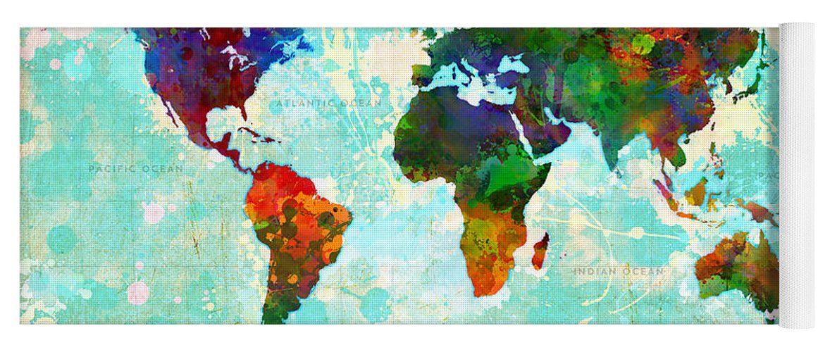 World map splatter design yoga mat for sale by gary grayson map of the world yoga mat featuring the painting world map splatter design by gary grayson gumiabroncs Gallery