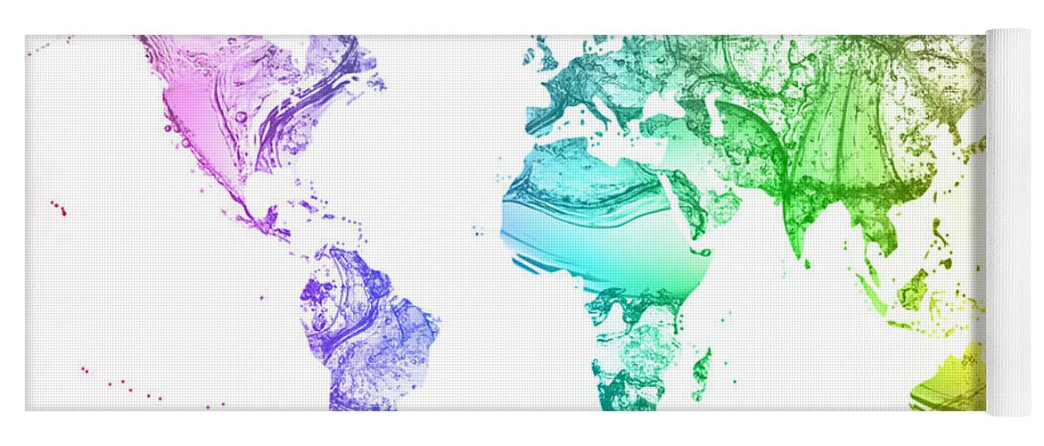 World map water splash rainbow colors yoga mat for sale by eti reid water yoga mat featuring the digital art world map water splash rainbow colors by eti reid gumiabroncs Gallery
