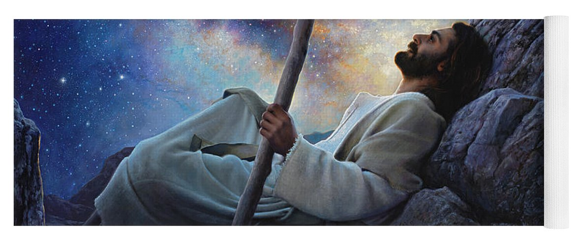 Jesus Yoga Mat featuring the painting Worlds Without End by Greg Olsen
