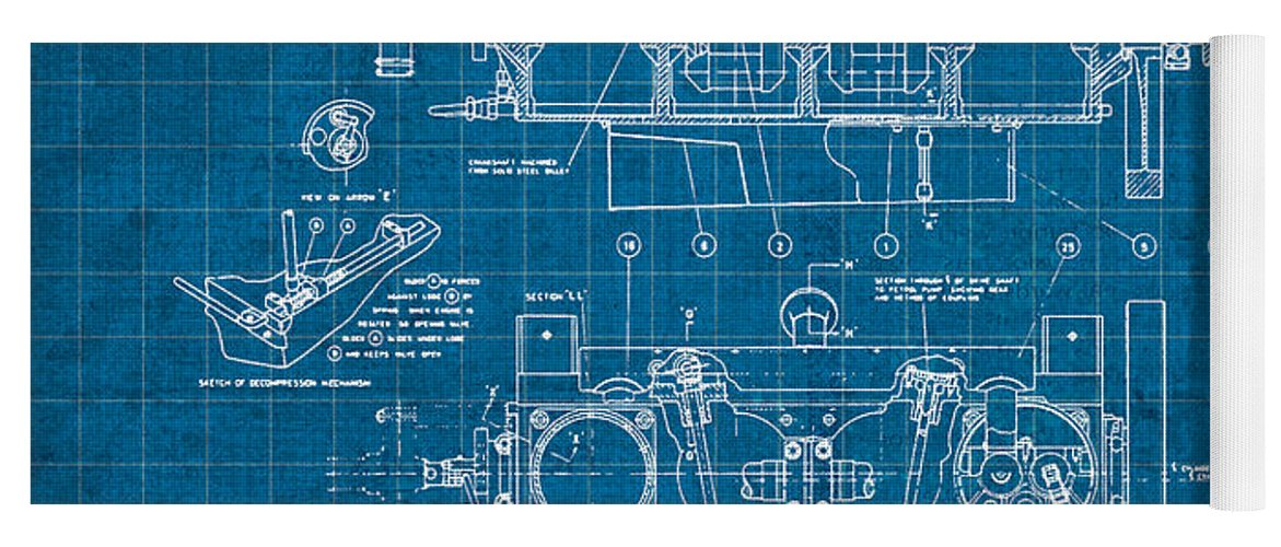 Wright brothers aero engine vintage patent blueprint yoga mat for wright yoga mat featuring the mixed media wright brothers aero engine vintage patent blueprint by design malvernweather Image collections