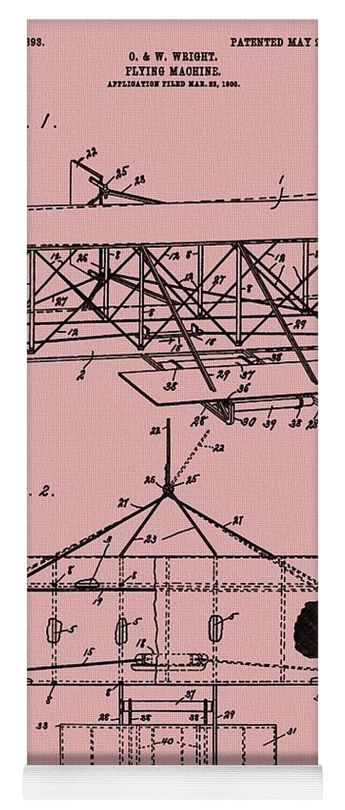 The Wright Brothers Airplane Patent Yoga Mat featuring the mixed media Wright Brothers Patent Red by Dan Sproul