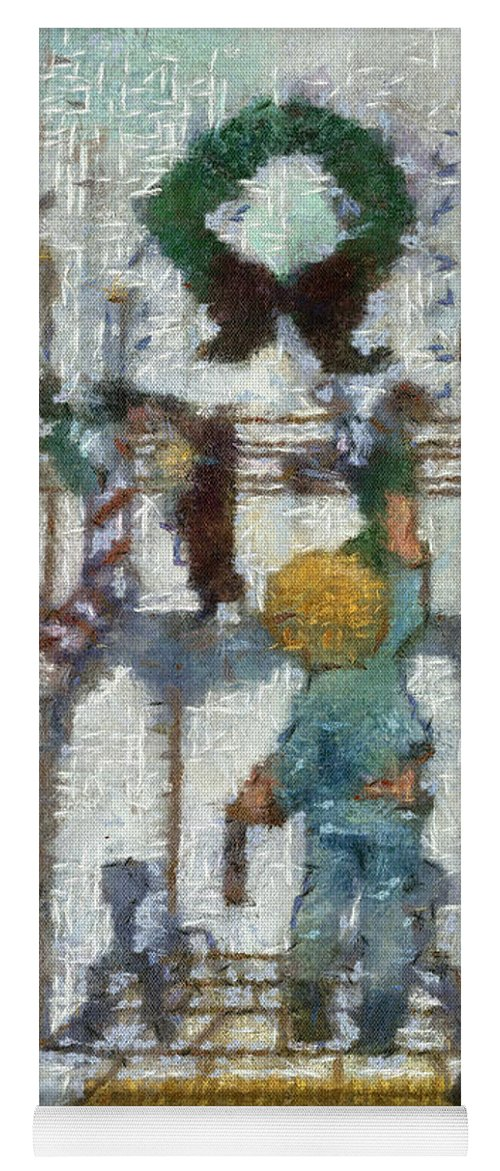 Stocking Yoga Mat featuring the photograph Xmas Little Boy With His Stocking Photo Art by Thomas Woolworth