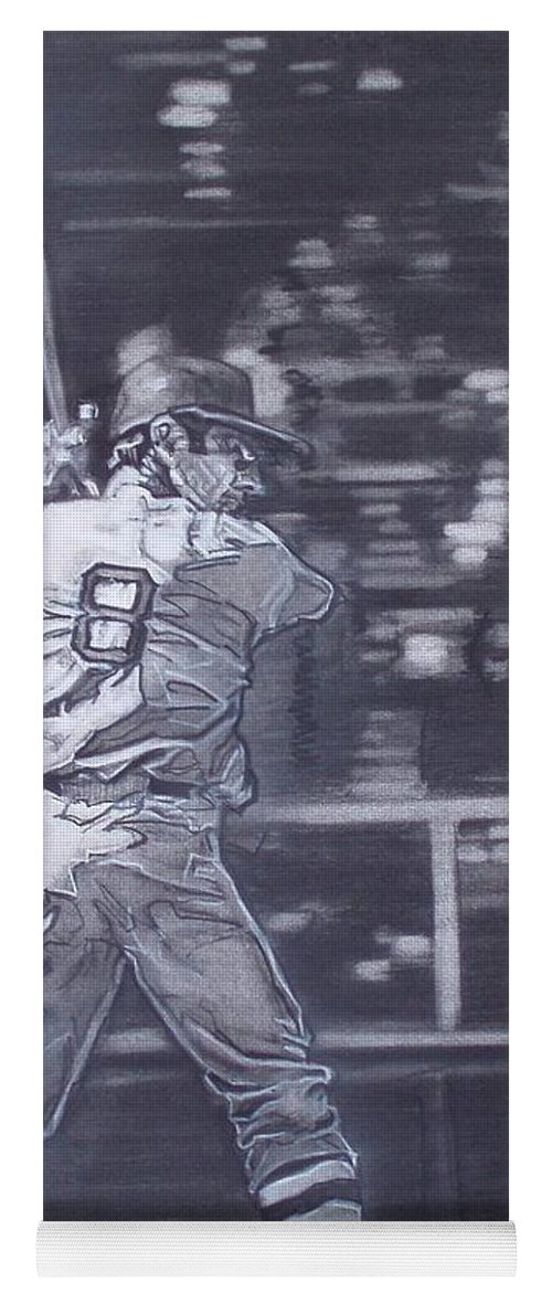 Charcoal On Paper Yoga Mat featuring the drawing Yaz - Carl Yastrzemski by Sean Connolly